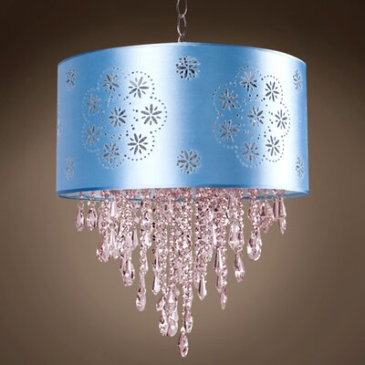 Graber 1-Light Drum Pendant Shade Color: Blue, Crystal: Pink European