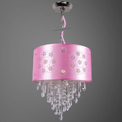 Gowin 1-Light Drum Chandelier Shade Color: Pink, Crystal: Clear European