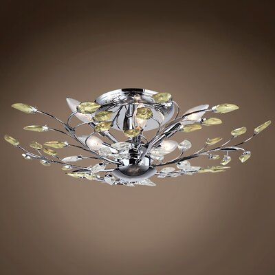 Menendez 6-Light Semi Flush Mount Bulb Type: LED, Crystal Grade: European