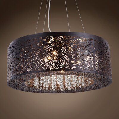Hodder 9-Light Drum Pendant Shade Color: Amber, Bulb Type: LED, Crystal: Swarovski