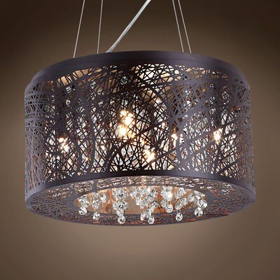 Hodder 7-Light Drum Pendant Shade Color: Golden Teak, Bulb Type: LED, Crystal: Swarovski