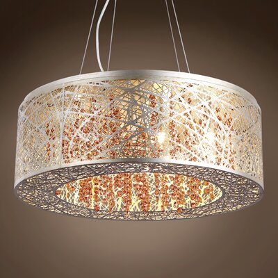 Hodder 9-Light Drum Pendant Shade Color: Clear, Bulb Type: Incandescent, Crystal: European