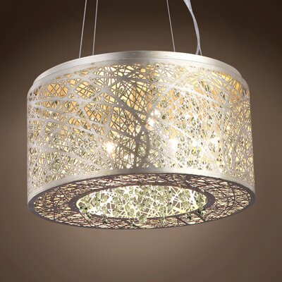 Hodder 7-Light Drum Pendant Shade Color: Clear, Bulb Type: Incandescent, Crystal: Swarovski