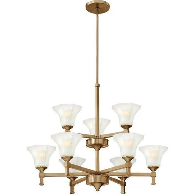 Priston 9-Light Candle-Style Chandelier Finish: Brushed Caramel