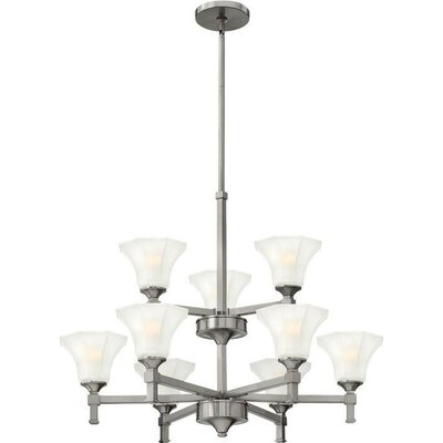 Priston 9-Light Candle-Style Chandelier Finish: Brushed Nickel