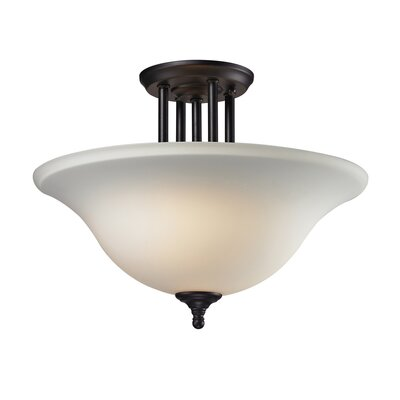 Westland 3-Light Semi Flush Mount Fixture Finish: Bronze