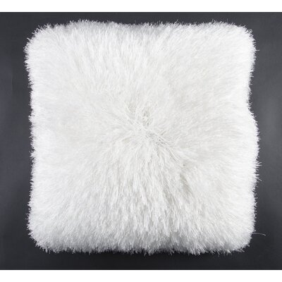 Khloe Shag Throw Pillow Color: White