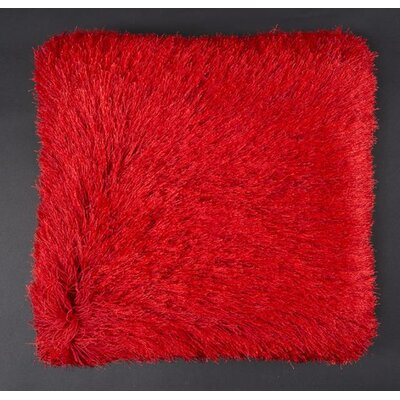 Khloe Shag Throw Pillow Color: Red