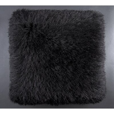 Khloe Shag Throw Pillow Color: Black
