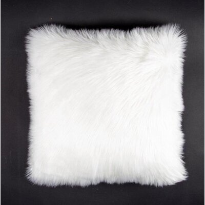 Avey Fuzz Shag Throw Pillow Color: White