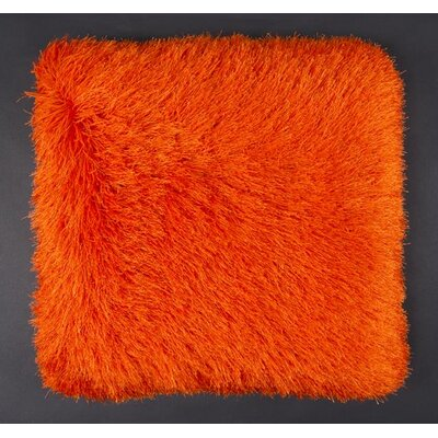 Khloe Shag Throw Pillow Color: Orange