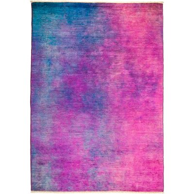 One-of-a-Kind Dunnygarran Hand Knotted Wool Purple Area Rug