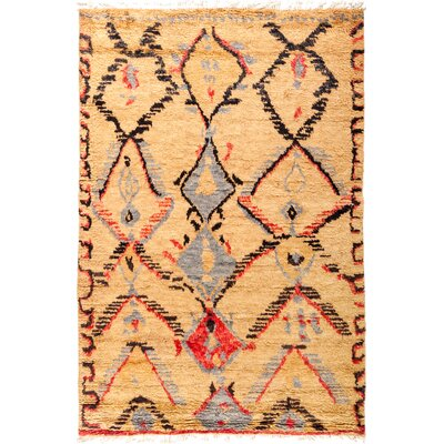 One-of-a-Kind Heiman Hand Knotted Yellow Area Rug