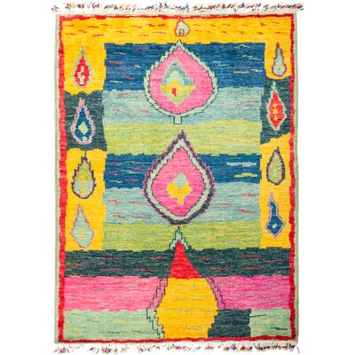 One-of-a-Kind Heiman Hand Knotted Yellow/Pink/Blue Area Rug