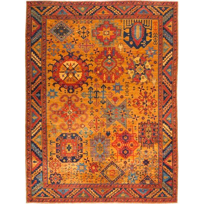 One-of-a-Kind Heineman Hand Knotted Wool Orange Area Rug