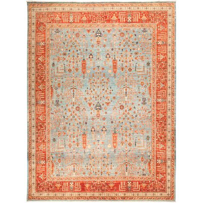 One-of-a-Kind Heineman Hand Knotted Wool Blue Area Rug