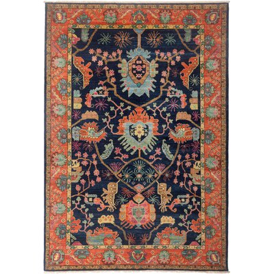 One-of-a-Kind Heineman Hand Knotted Wool Navy/Orange Area Rug