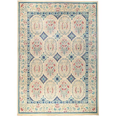 One-of-a-Kind Sabra Hand Knotted Wool Blue/Tan Area Rug