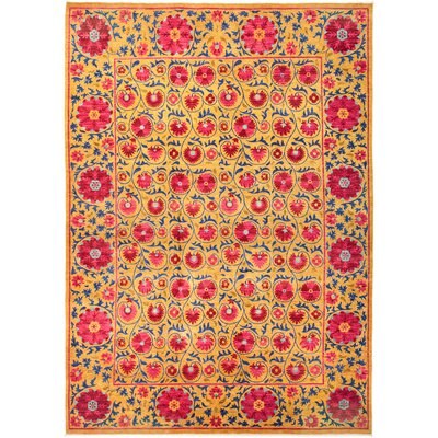 One-of-a-Kind Courtois Hand Knotted Wool Orange Area Rug