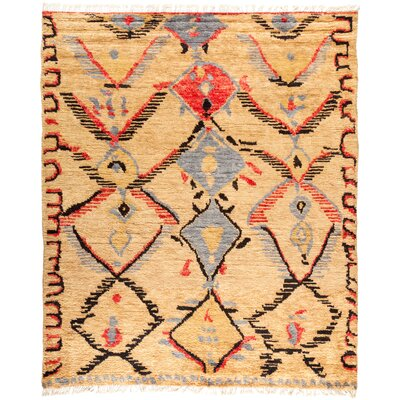 One-of-a-Kind Heiman Hand Knotted Wool Beige/Red Area Rug
