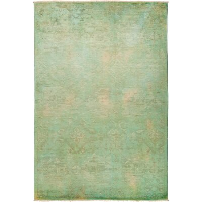 One-of-a-Kind Benjamin Hand Knotted Green Area Rug