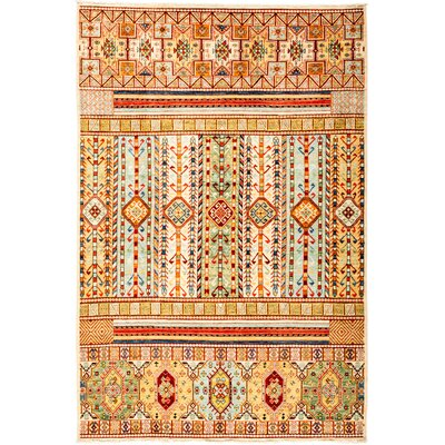 One-of-a-Kind Heinen Hand Knotted Wool Orange Area Rug