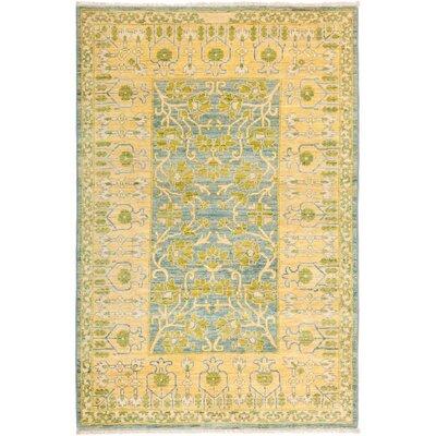 One-of-a-Kind Heim Hand Knotted Wool Yellow Area Rug