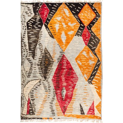 One-of-a-Kind Heiman Hand Knotted Wool Gray/Orange Area Rug