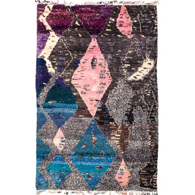One-of-a-Kind Heiman Hand Knotted Black Area Rug