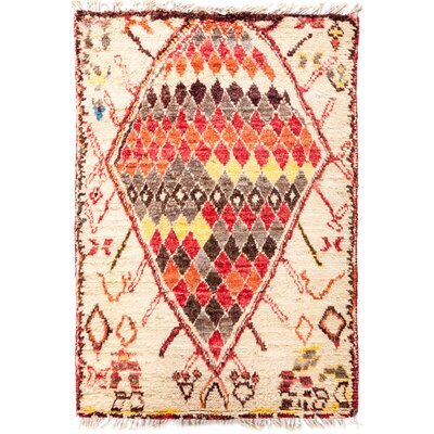 One-of-a-Kind Heiman Hand Knotted Beige/Red/Orange Area Rug