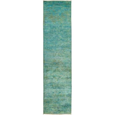 One-of-a-Kind Courter Hand Knotted Wool Green Area Rug