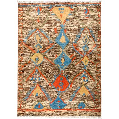 One-of-a-Kind Heiman Hand Knotted Wool Brown/Blue Area Rug