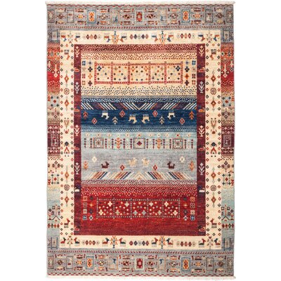 One-of-a-Kind Heinen Hand Knotted Wool Blue Area Rug