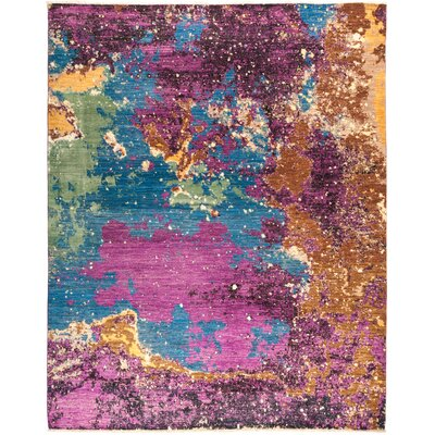 One-of-a-Kind Dunnock Hand Knotted Wool Purple Area Rug
