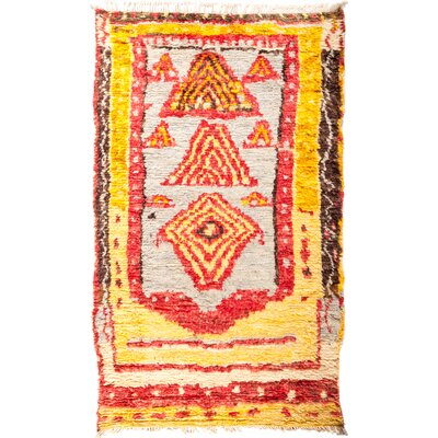 One-of-a-Kind Heiman Hand Knotted Yellow/Red Area Rug