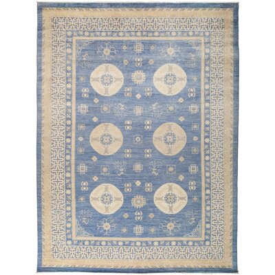 One-of-a-Kind Rosemary Hand Knotted Wool Blue Area Rug