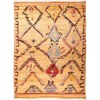 One-of-a-Kind Heiman Hand Knotted Wool Sand/Red Area Rug