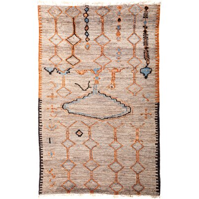 One-of-a-Kind Heiman Hand Knotted Wool Beige/Orange Area Rug