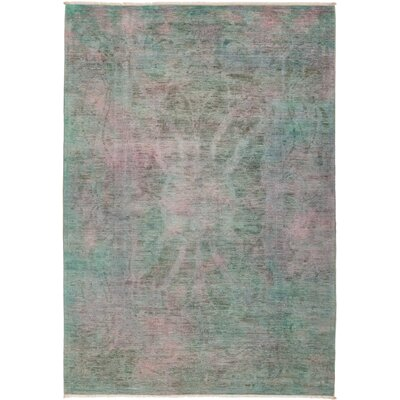 One-of-a-Kind Courter Hand Knotted Green/Pink Area Rug