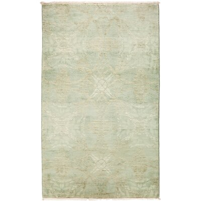 One-of-a-Kind Pritt Hand Knotted Wool Green Area Rug
