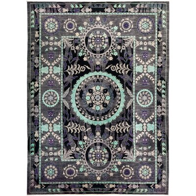 One-of-a-Kind Heilman Hand Knotted Wool Black Area Rug