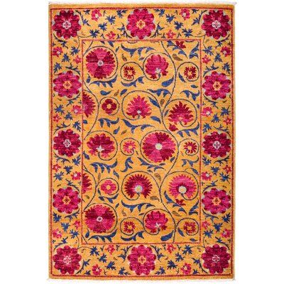 One-of-a-Kind Heilman Hand Knotted Wool Orange Area Rug