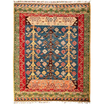 One-of-a-Kind Heinen Hand Knotted Wool Blue/Red/Green Area Rug