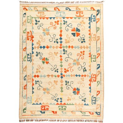 One-of-a-Kind Heiman Hand Knotted Wool Tan/Orange Area Rug