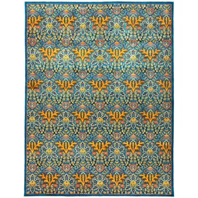 One-of-a-Kind Heim Hand Knotted Wool Blue Area Rug