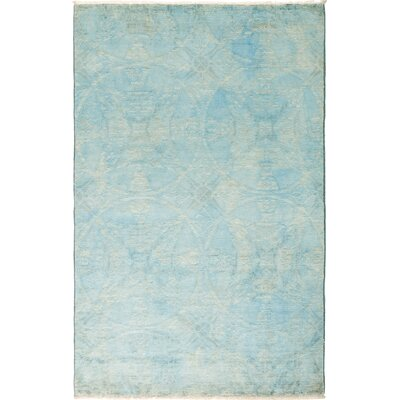 One-of-a-Kind Pritt Hand Knotted Wool Blue Area Rug