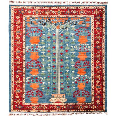 One-of-a-Kind Heiman Hand Knotted Wool Blue Area Rug