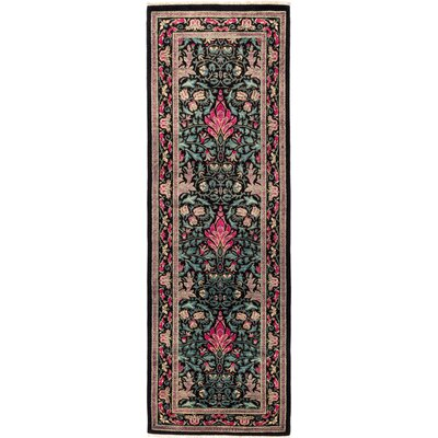 One-of-a-Kind Heim Hand Knotted Wool Black/Pink Area Rug