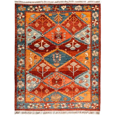 One-of-a-Kind Heiman Hand Knotted Wool Red/Orange Area Rug
