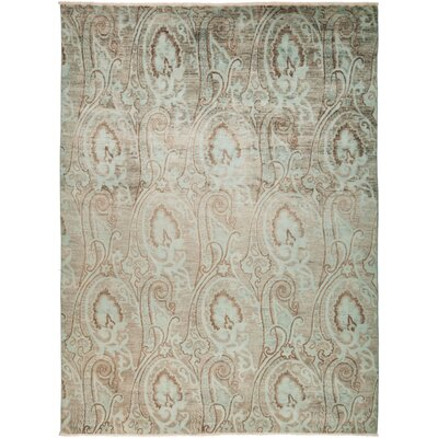 One-of-a-Kind Lineberger Hand Knotted Green Area Rug